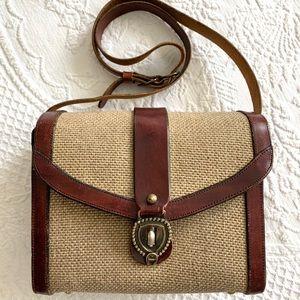 Vintage handmade Etienne Aigner leather tweed bag
